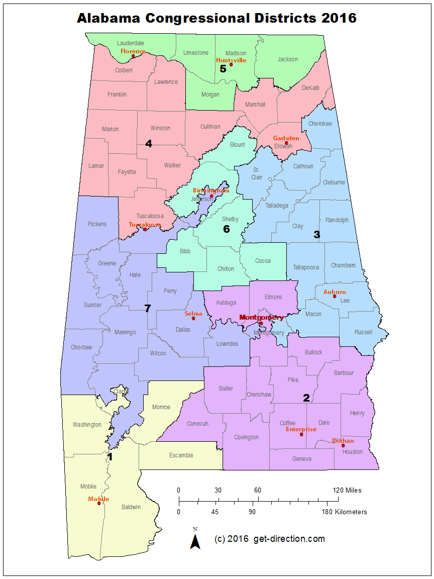 Map of Alabama Congressional Districts 2016
